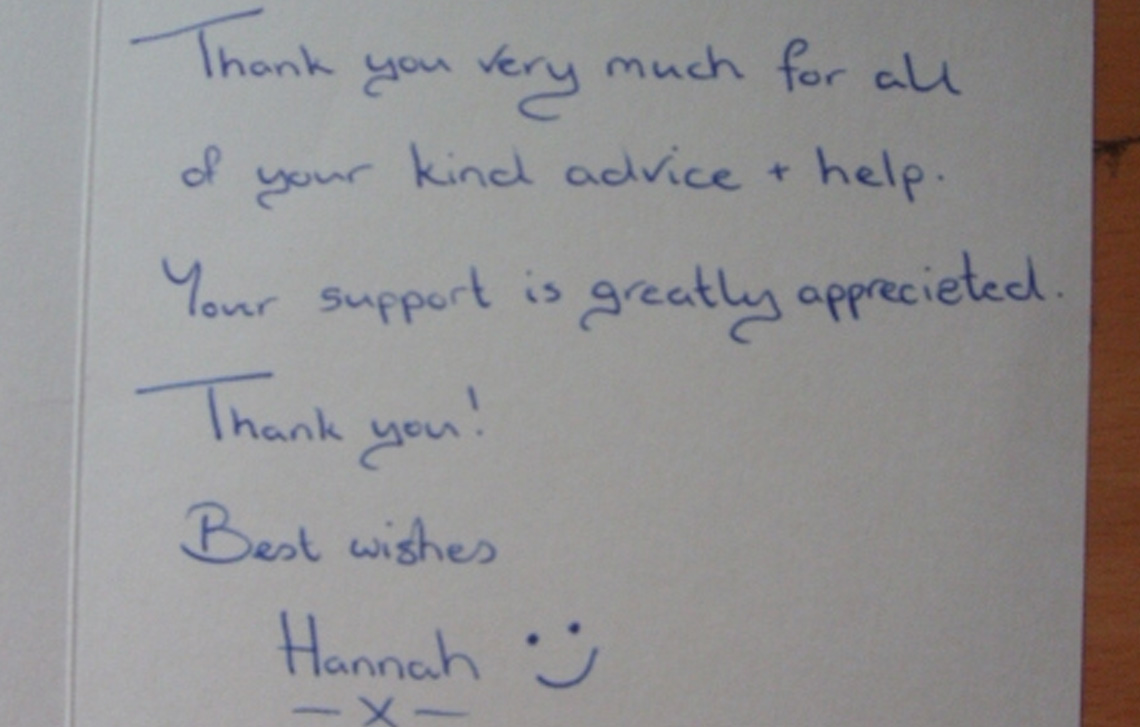 Thank you from Hannah
