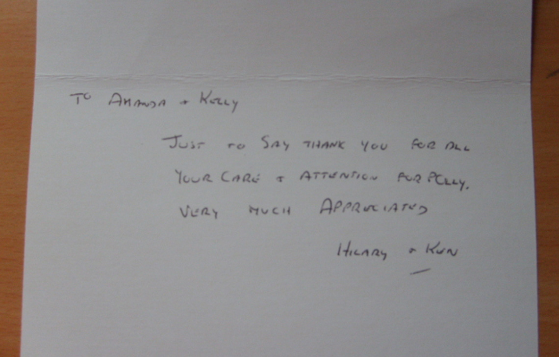 Thank you from Hilary & Ken